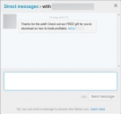 Twitter Direct Message - Download a free gift spam message