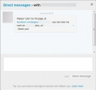 Twitter Direct Message - Like us on Facebook spam message